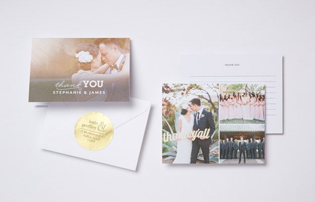 Photo Wedding Thank You Card And Post With Envelope Gold Sticker