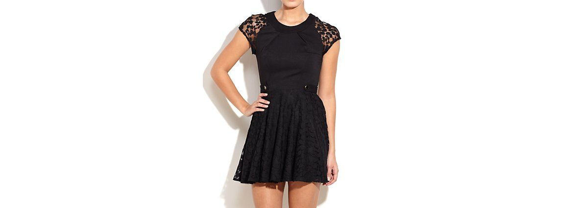 Another Label Black Cap Sleeve Lace Dress   newlook.com