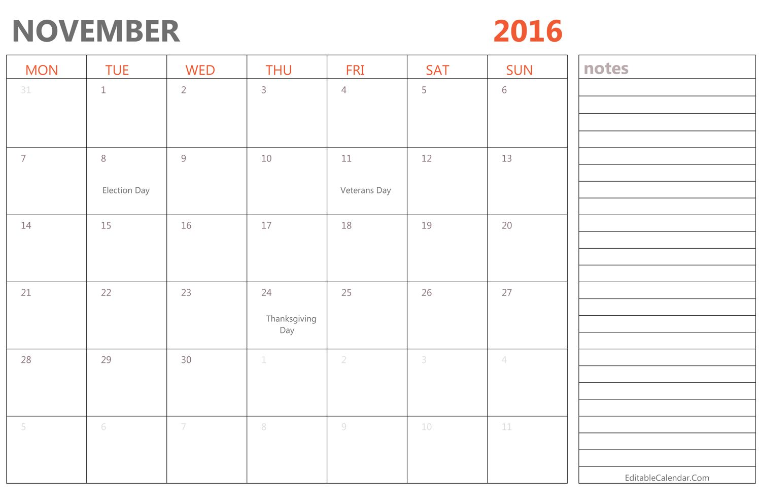 Editable November  Calendar With Holidays   Calendar