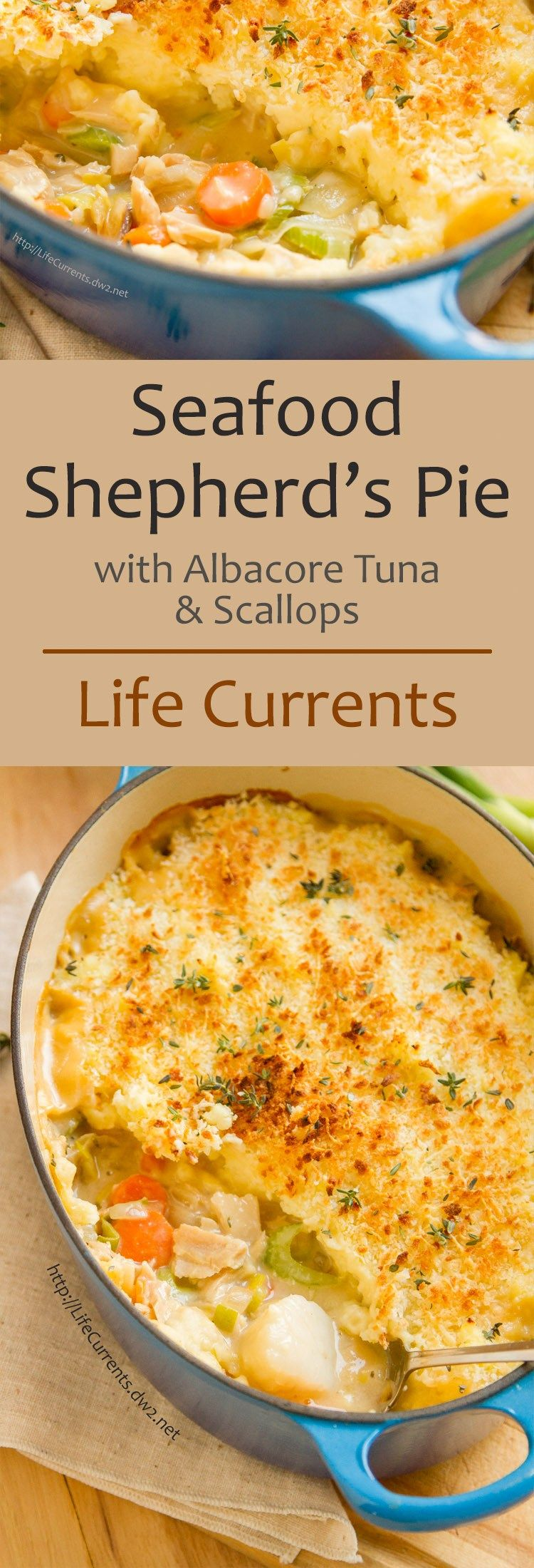 This Seafood Shepherd's Pie or Fisherman's Pie would make a really impressive dinner for the fish lover in your family. It's great healthy comfort food, that's filled with seafood goodness, lots of veggies, and a nice flavorful sauce. #seafooddishes