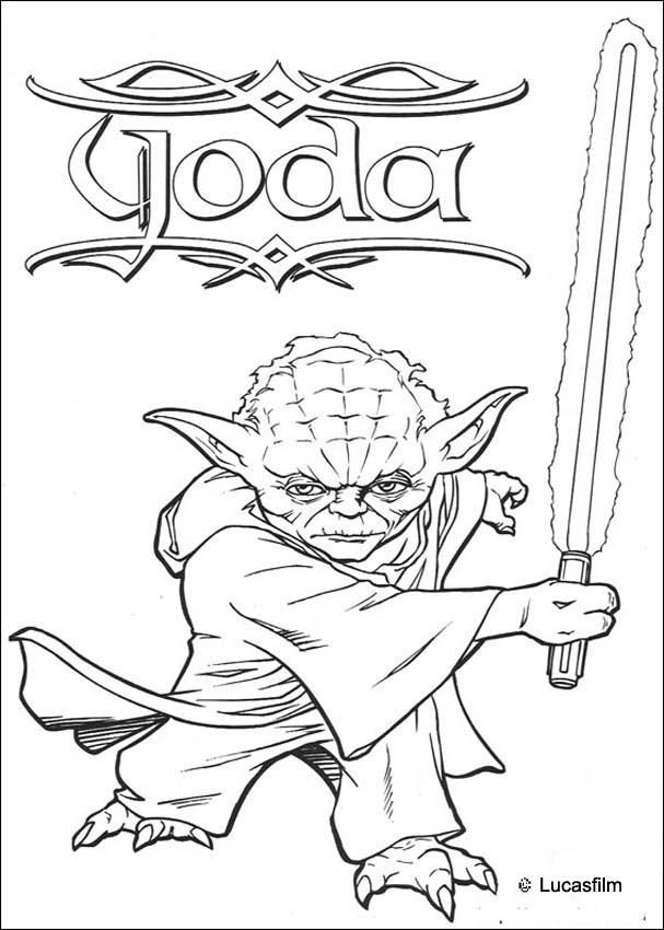 Yoda With Two Swords Awesome Star Wars Coloring Pages