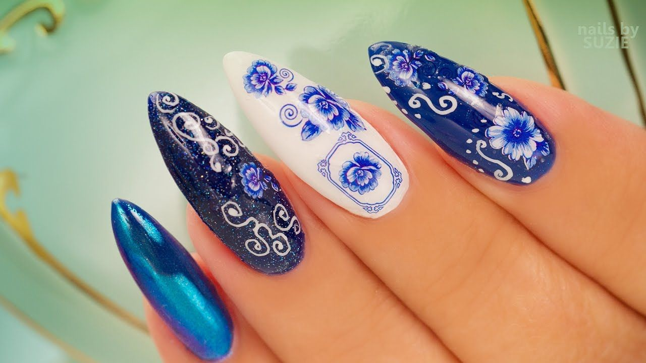 Four Styles Chrome Stickers Calligraphy And Glitter Gel Nails