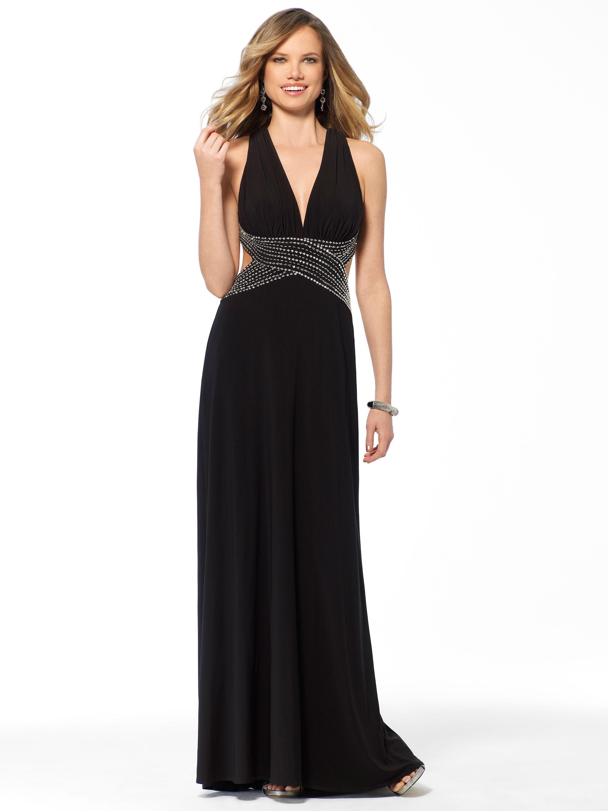 Evening dresses black sequin drape halter gown caché one night