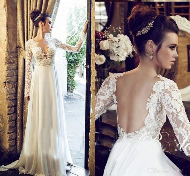 Fast Shipping 2016 Beach Wedding Dress With Long Sleeve Deep V Neck ...