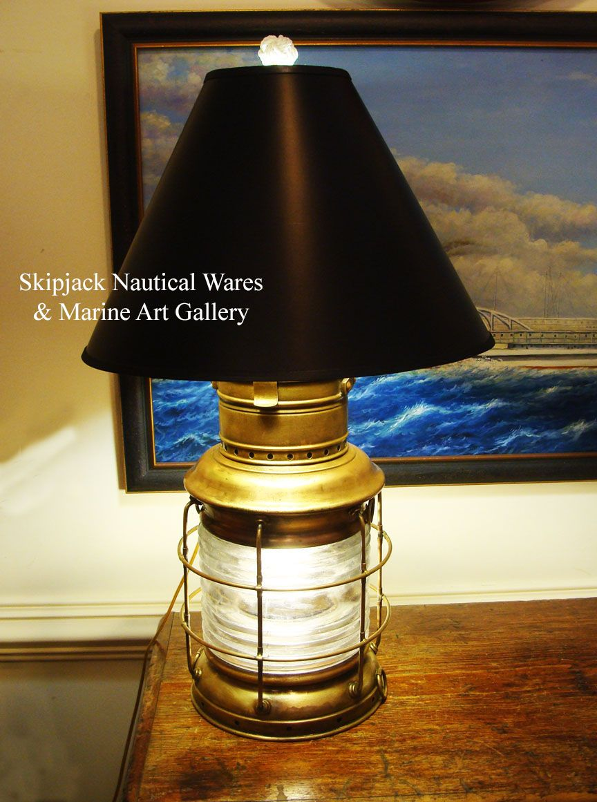 A Beautiful Authentic Marine Brass Anchor Lantern Re Purposed Into A Nautical  Table Lamp.