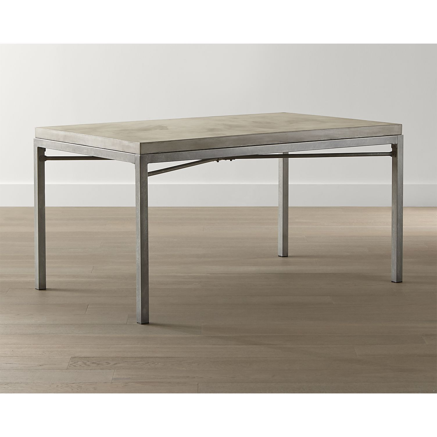 Metra extension dining table crate and barrel - Concrete Top Zinc X Base 48x28 High Dining Table In Dining Tables Crate