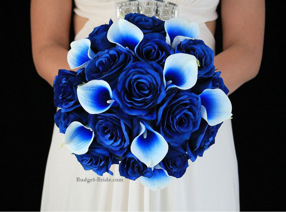 royal blue wedding flowers complete 5 piece package for only 300