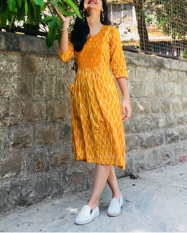 Shop Mustard And White Zigzag Dress Casual Frocks Ikkat Dresses