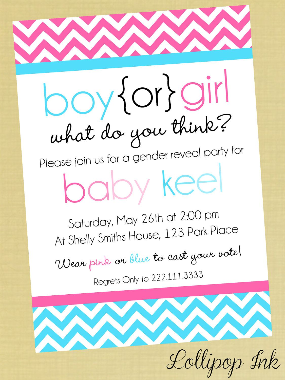 Gender Reveal Chevron Baby Shower Printable Invitation, Gender Reveal Shower  Personalized Pink Or Blue Invite