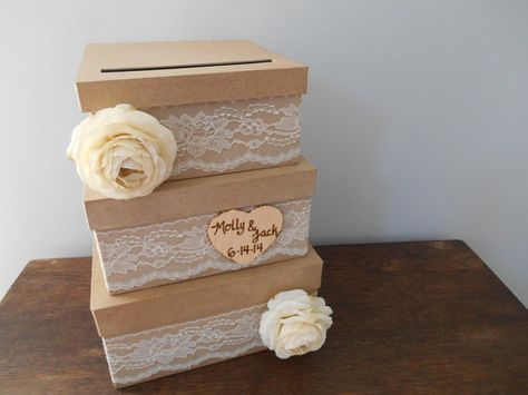 Rustic Burlap And Lace Wedding Card Box Victorian Decor Personalized Chalkboard Or Wood Burned Tag