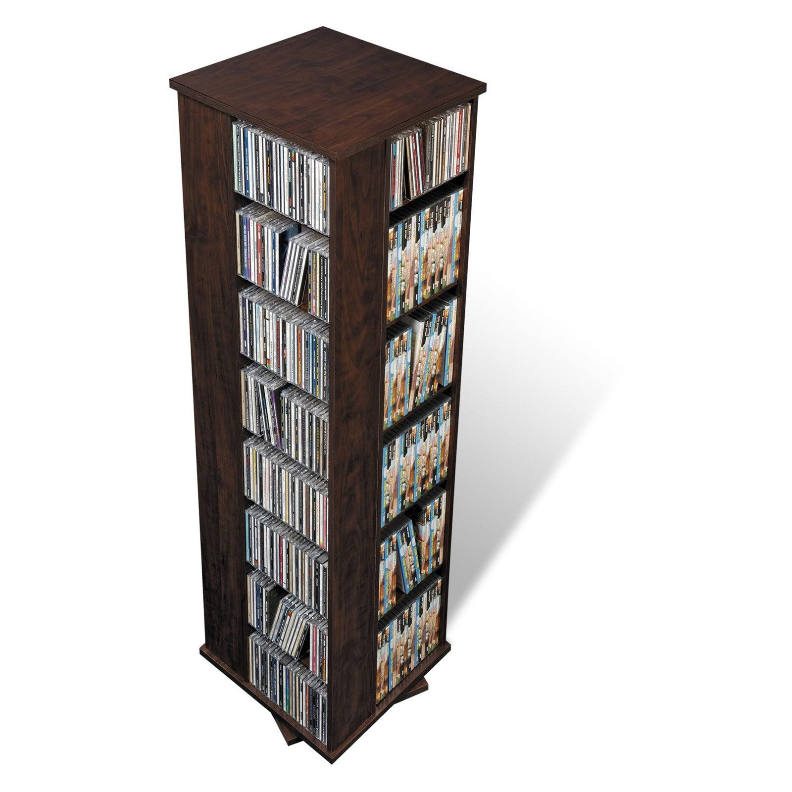 Prepac Large 4 Sided Spinning Tower Media Storage Espresso