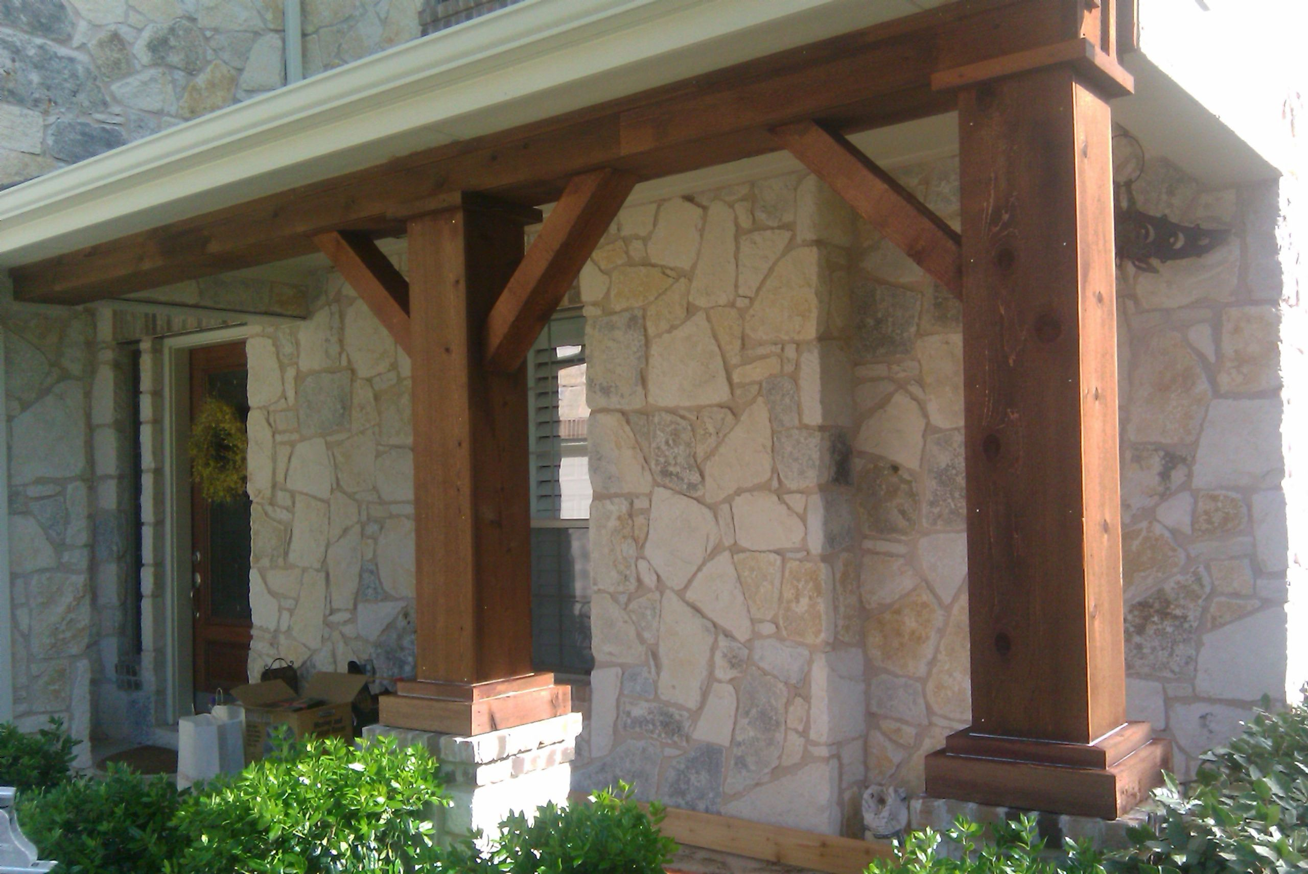 Cedar columns for front porch cedar front porch column for Column ideas for house