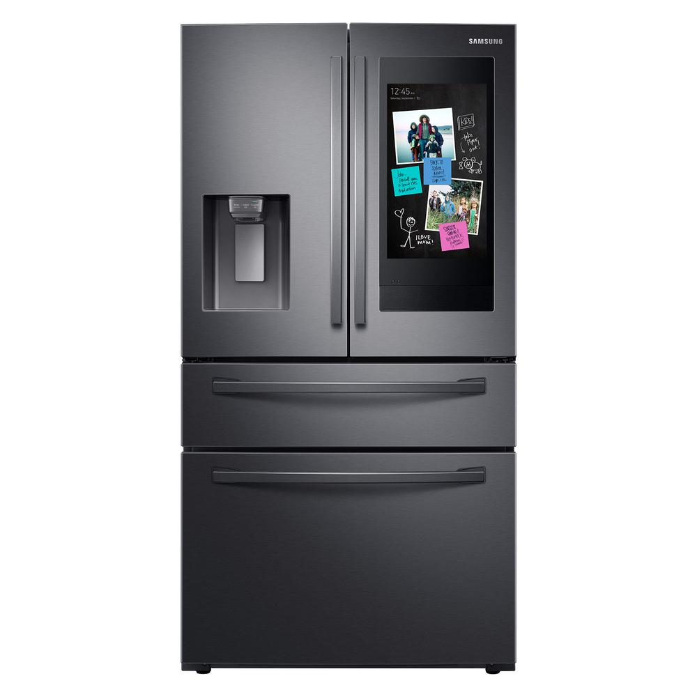 Samsung 27 7 Cu Ft Family Hub 4 Door French Door Smart Refrigerator In Fingerprint Resistant Black Stainless Steel Rf28r7551sg The Home Depot In 2020 Samsung Family Hub Family Hub Family Hub Refrigerator
