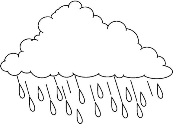 Bulut Boyama Ve Yagmur Damlasi Boyama Sayfasi 2 Boyama Sayfalari