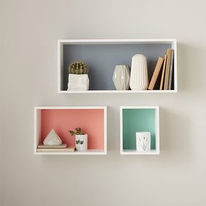 Set De 3 Cubes Rectangles Exterieur Blanc Castorama Floating Shelves Living Room Wall Shelves Bedroom Decorating Shelves