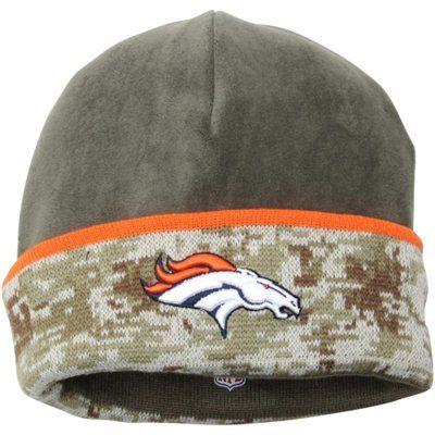 de5297d1b78309 Mens Denver Broncos New Era Olive/Camo 2014 Salute to Service On-Field  Cuffed Knit Hat