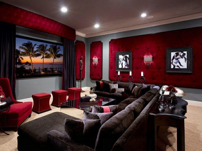 einrichtung wohnzimmer elegant rote wand polster sofa braun ...