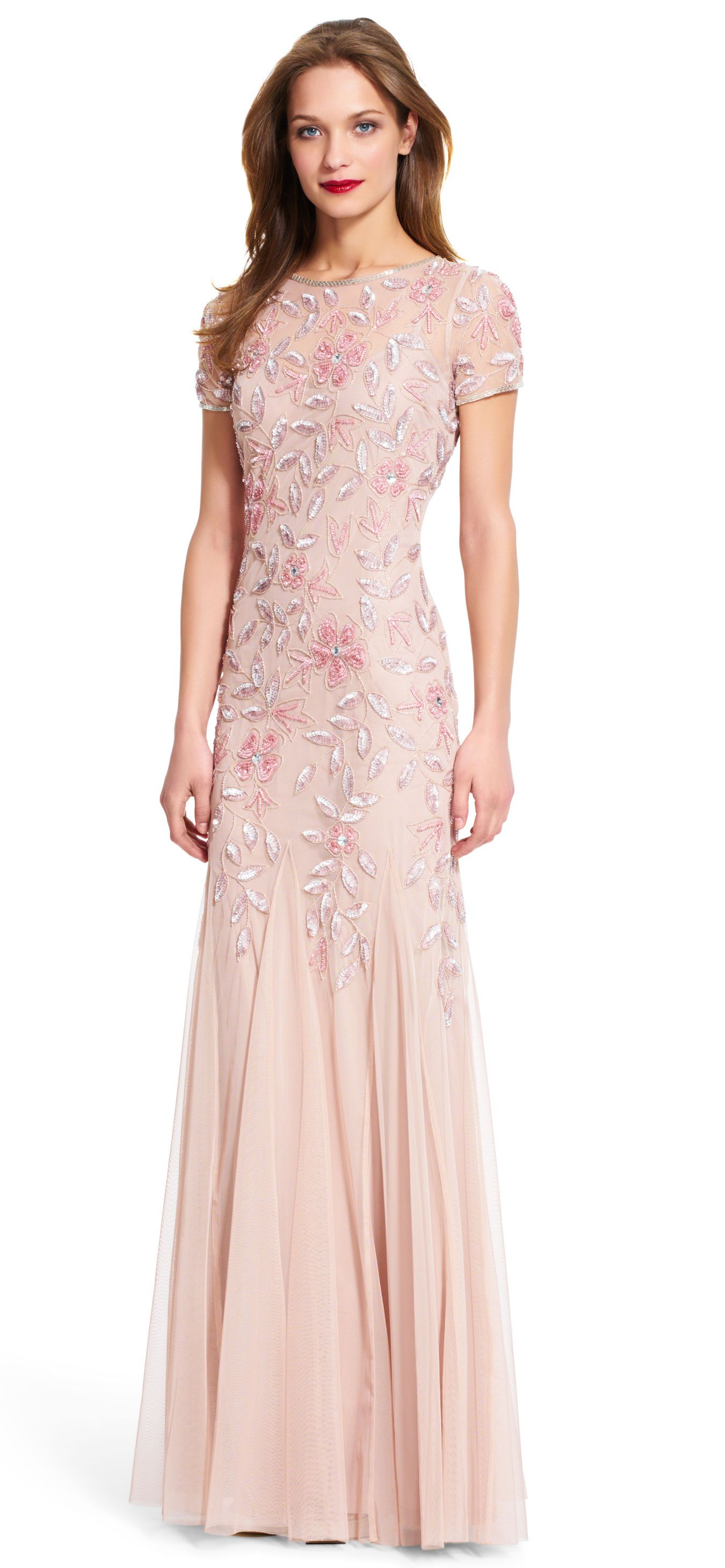 Floral Beaded Godet Gown with Short Sleeves | Pinterest