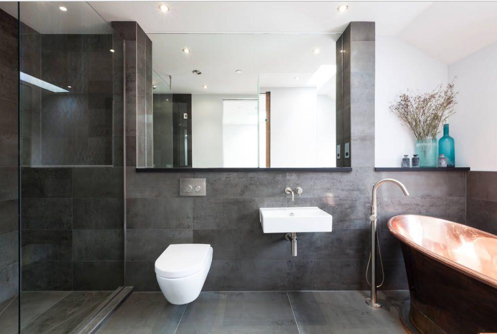 Suspended toilette in einem modernen interieur badezimmer