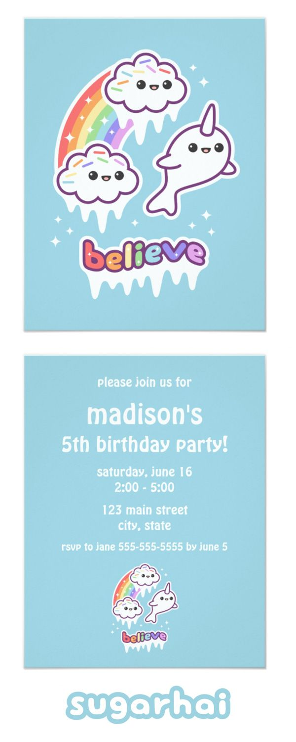 Cute Narwhal Birthday Party Invitations Party invitations