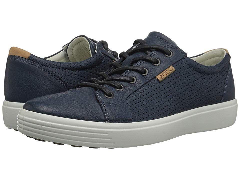 ECCO Soft 7 Perf Tie (Navy) Men's Shoes
