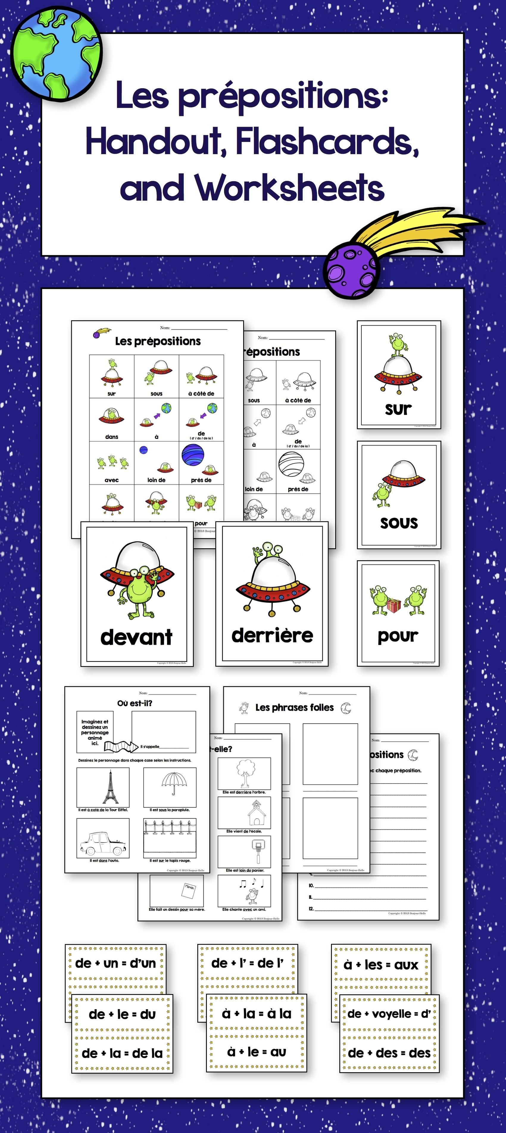 Les Prepositions Handout Flashcards And Worksheets