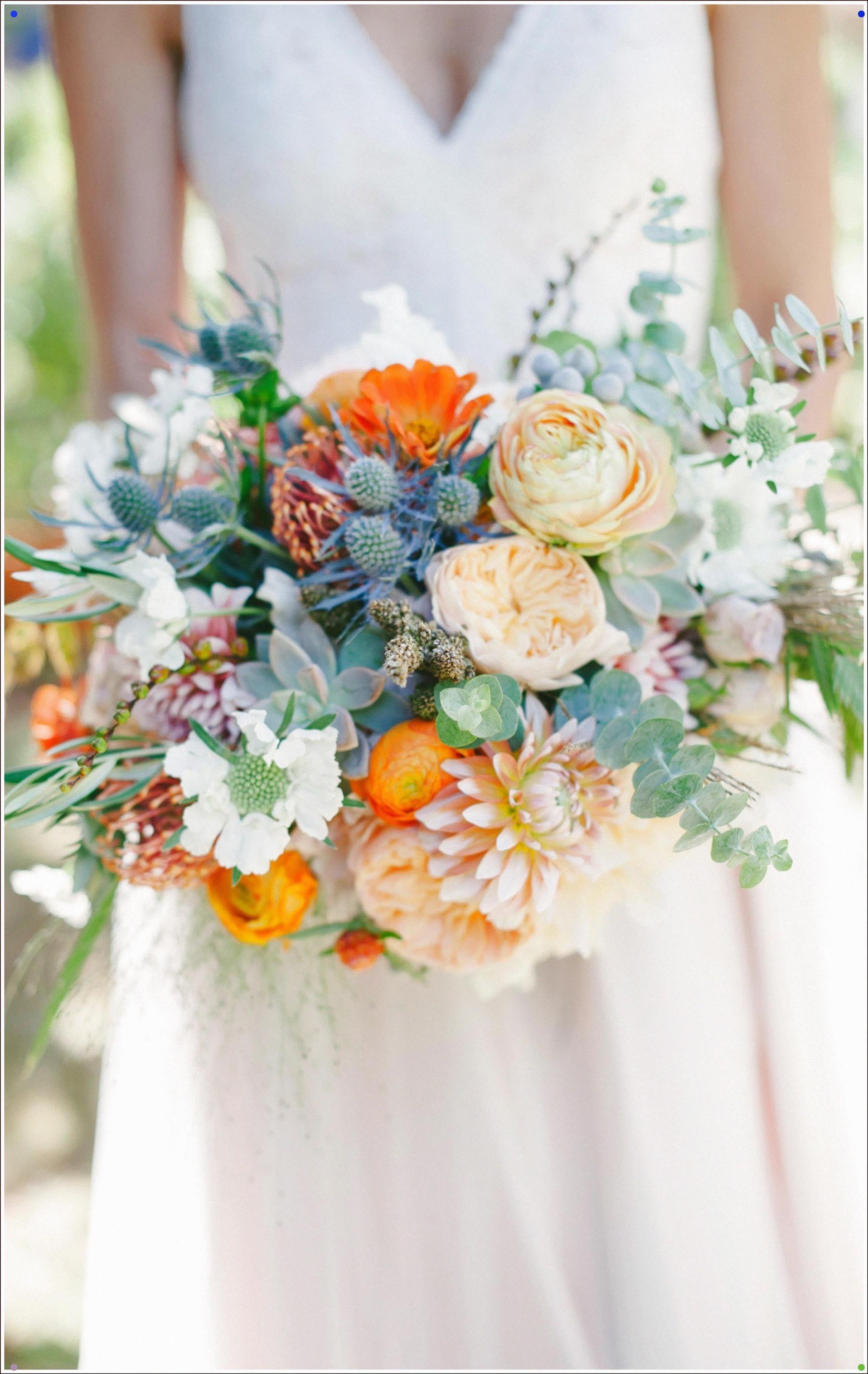 Bridal Bouquet, Cafe Au Lait Dahlias, Orange Ranunculus