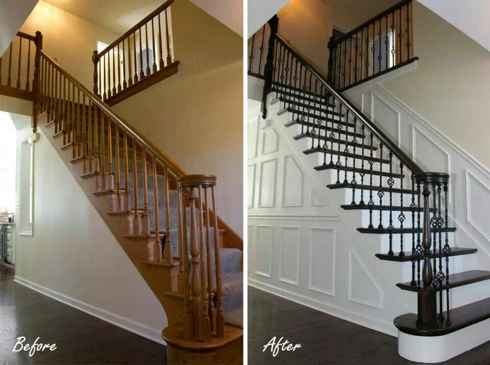 Foyer Stairs Jobs : Stairs before and after a paint job painted