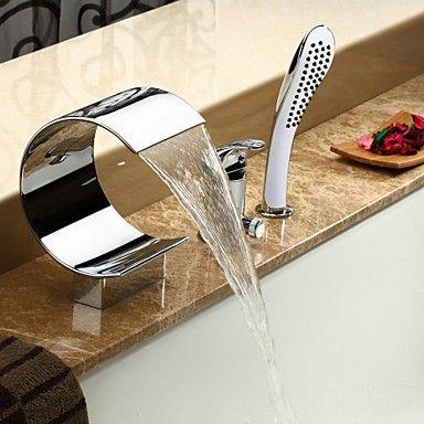 zeitgenssische Wasserfall Badewanne Wasserhahn mit Handbrause - verchromt