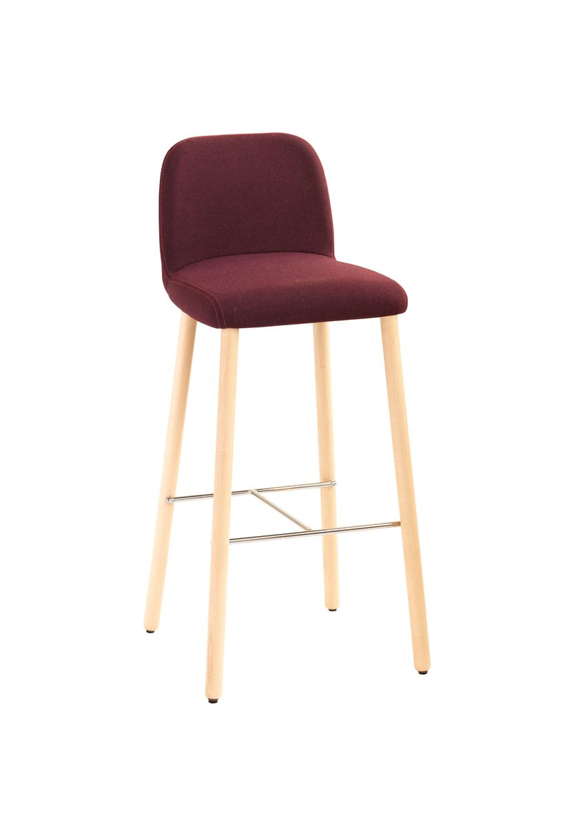 Myra 658 Barstool 4 Legged Conical Beech Wood Frame Shell Fully Upholstered