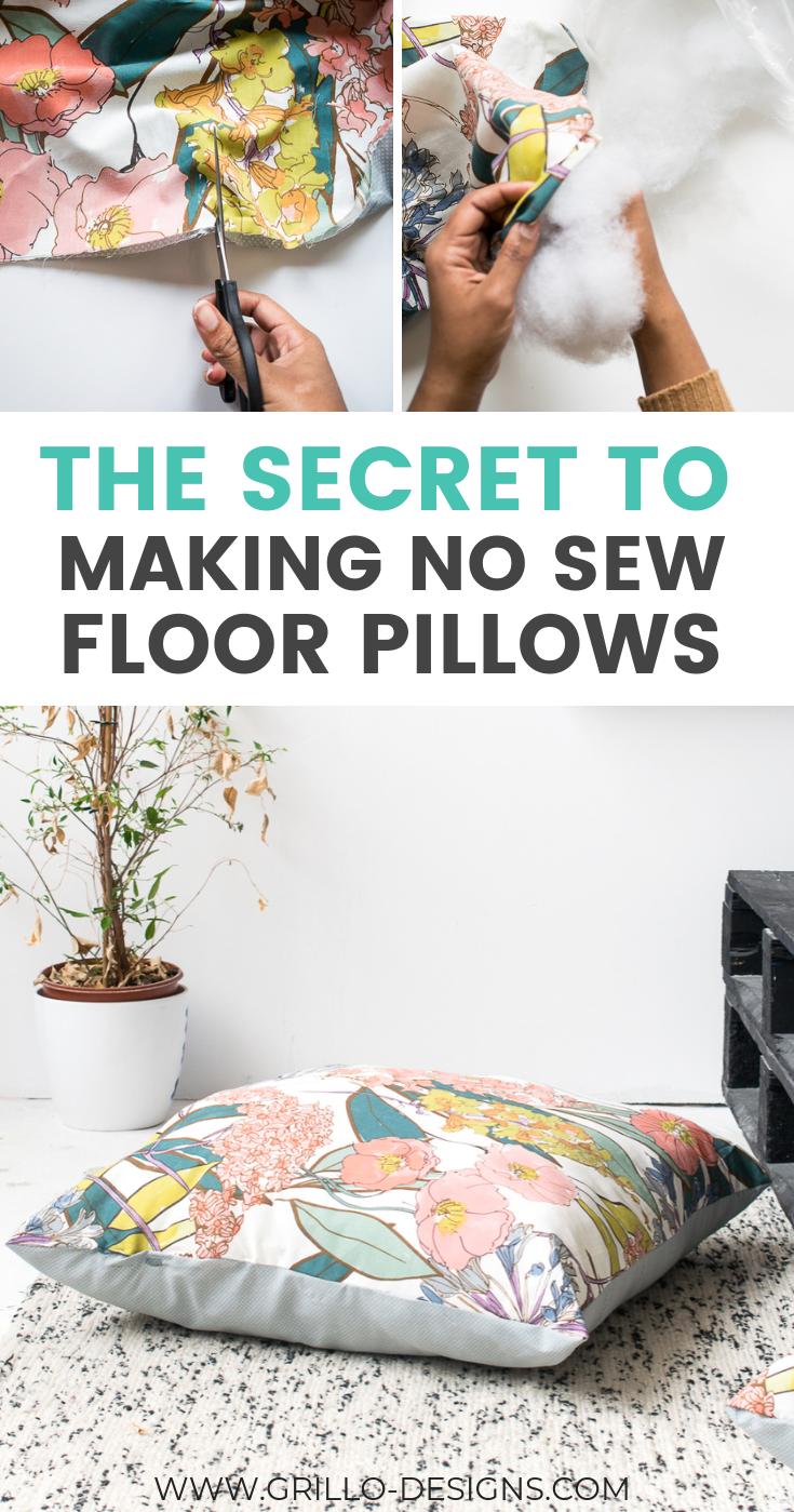 Diy No Sew Large Floor Cushions Floor Pillows Diy Floor Cushions Diy Diy Cushion