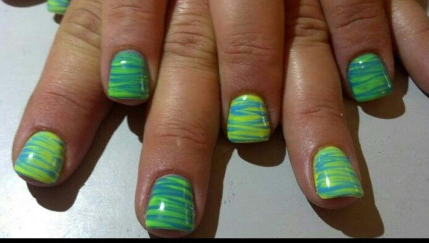 Abstract nail design! Acrylic nails with hand painted nail art using ...