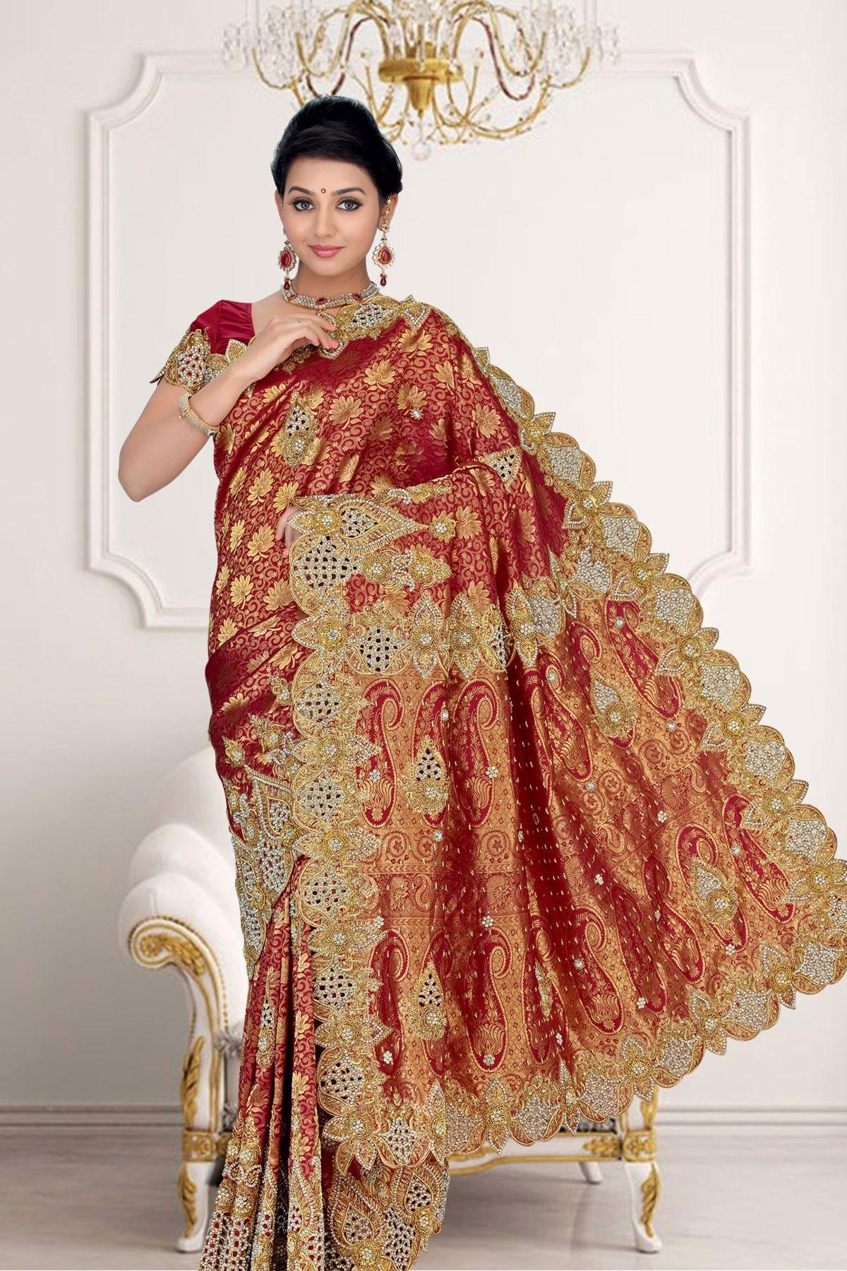 6a53c8de1b52ee ... Cut work   Stone worked pure silk  wedding  saree in maroon Zari  weaved