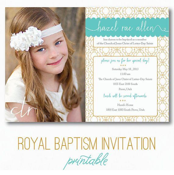 lds baptism invitation royal digital printable baptism