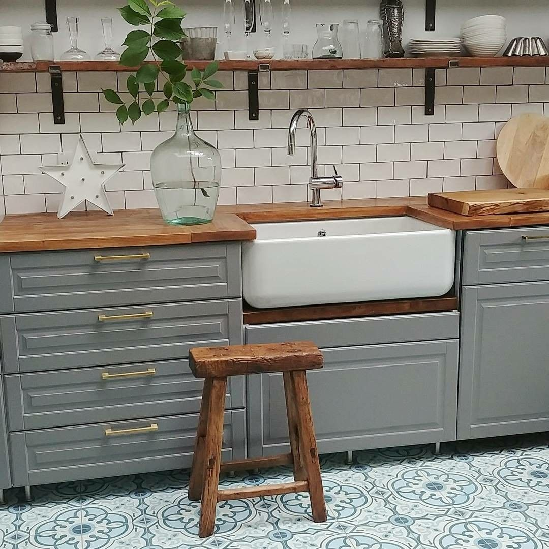 Ikea Bodbyn Kitchen Grey With White Metro Tiles Butler Belfast Sink Moroccan Cement Tiles Reclaimed But With Images Wood Worktop Ikea Bodbyn Kitchen Bodbyn Kitchen Grey