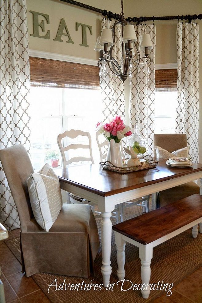 A Little Spring In The Breakfast Area Farm House Living Room Farmhouse Kitchen Curtains Farmhouse Dining Room