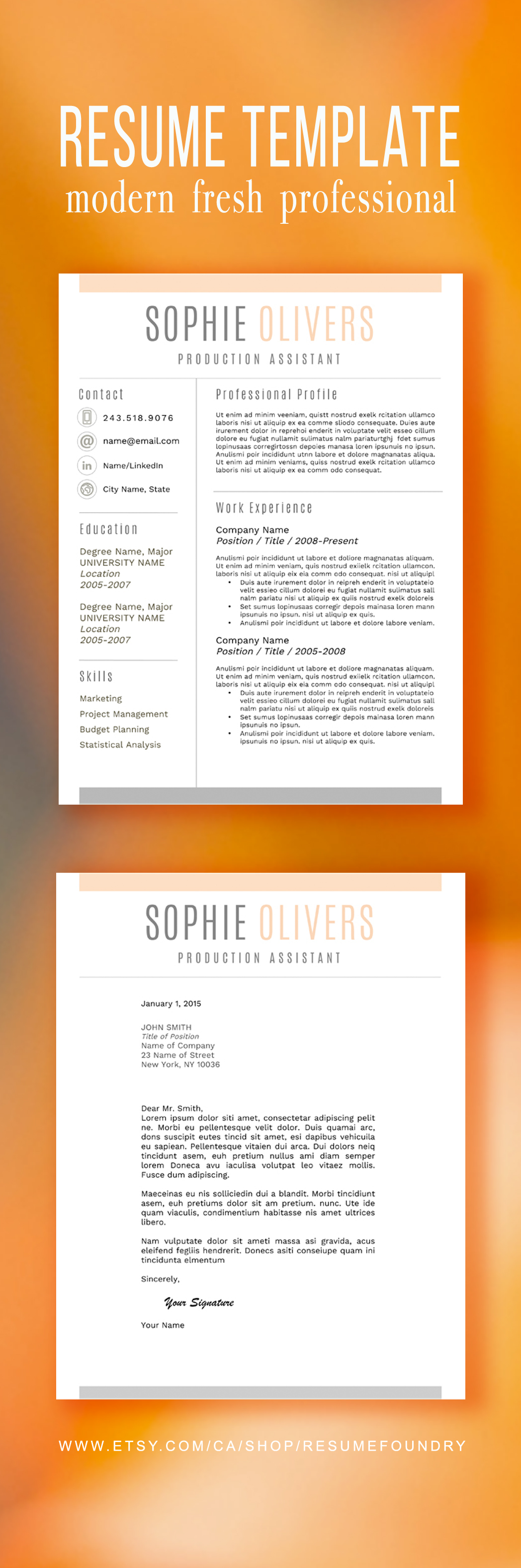 Simple And Elegant Resume Template Use With Microsoft Word