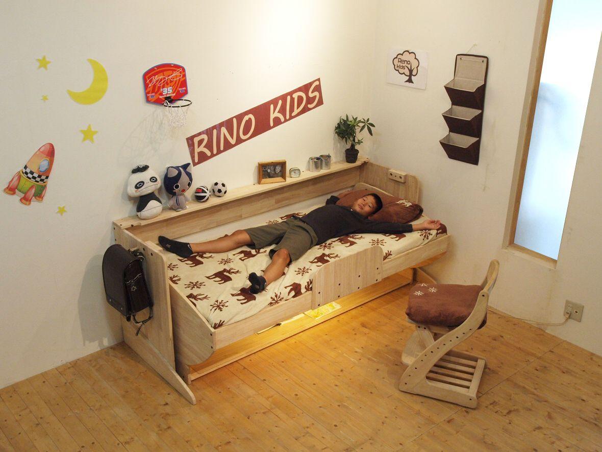 2018 年の「リノキッズ木製ロータイプロフトベッド | 半個室 ベッド