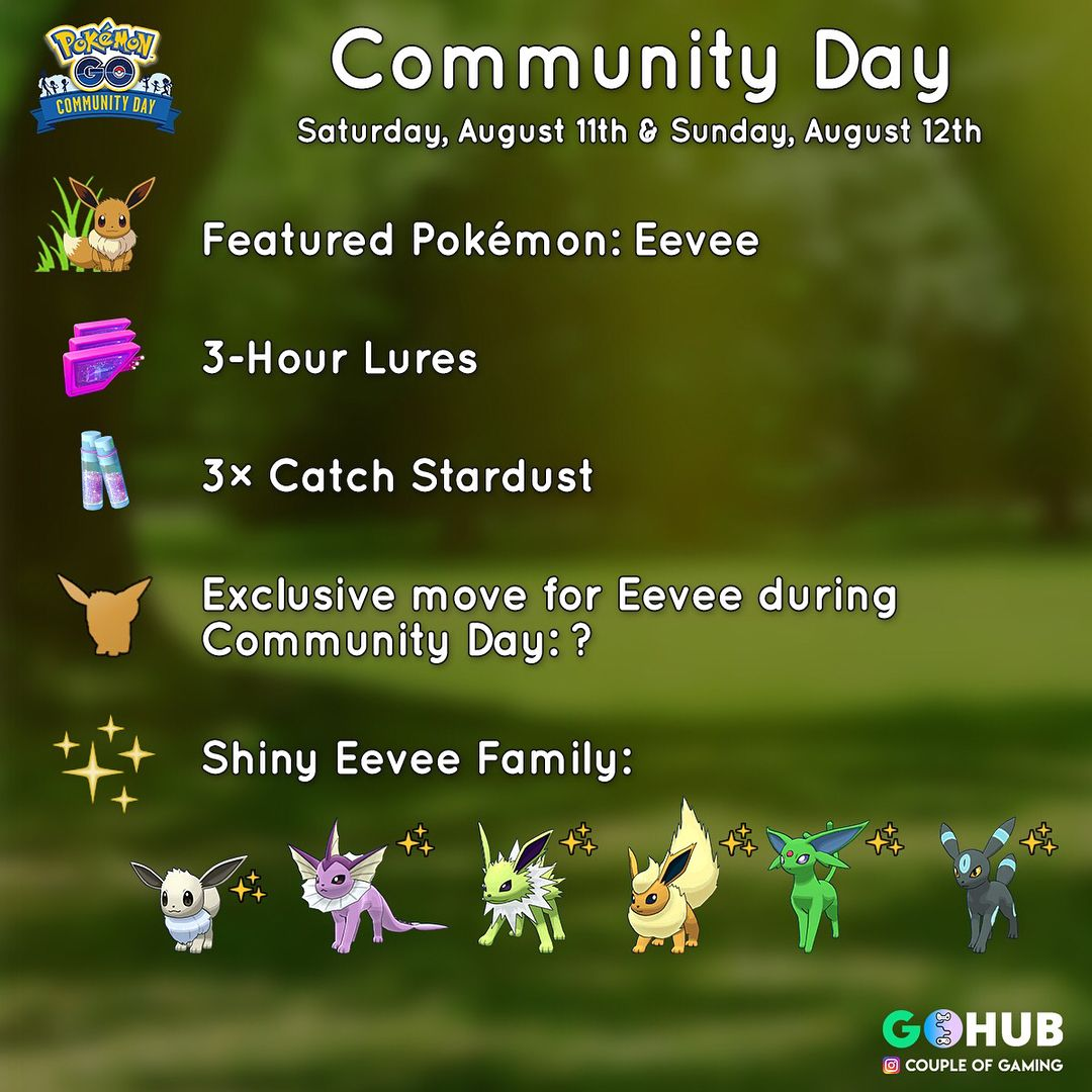 Eevee is the next featured Pokémon for Augusts' community