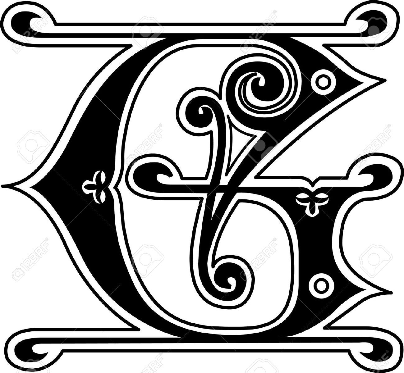 Classic Style English Alphabet Letter G Monochrome Royalty Free