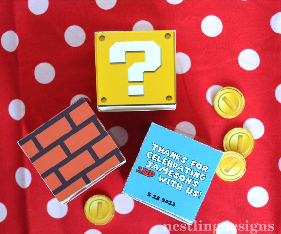 Super Mario Personalized Printable DIY Favor Boxes - Mystery and Brick