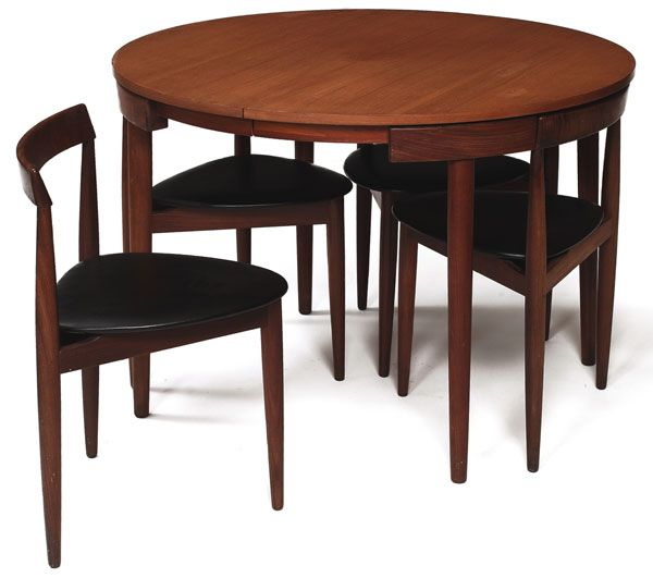 Classic Modern Teak Nesting Table And Chairs From Danish Designer