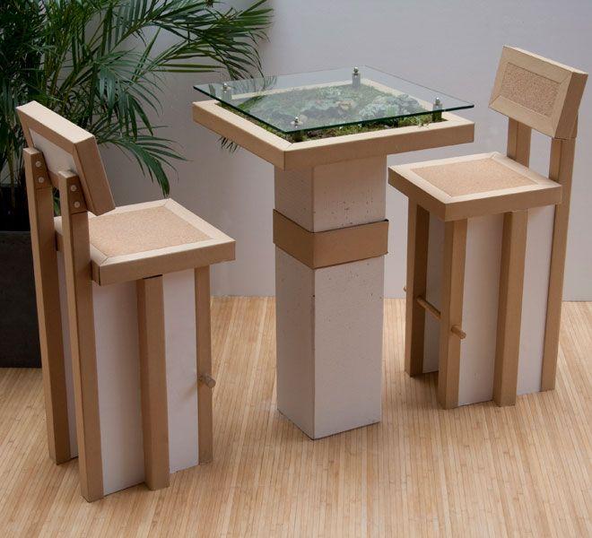 Meuble Ecologique 100 Recyclable Table Et Chaises Meuble En Carton Mobilier De Salon Artisanat En Carton