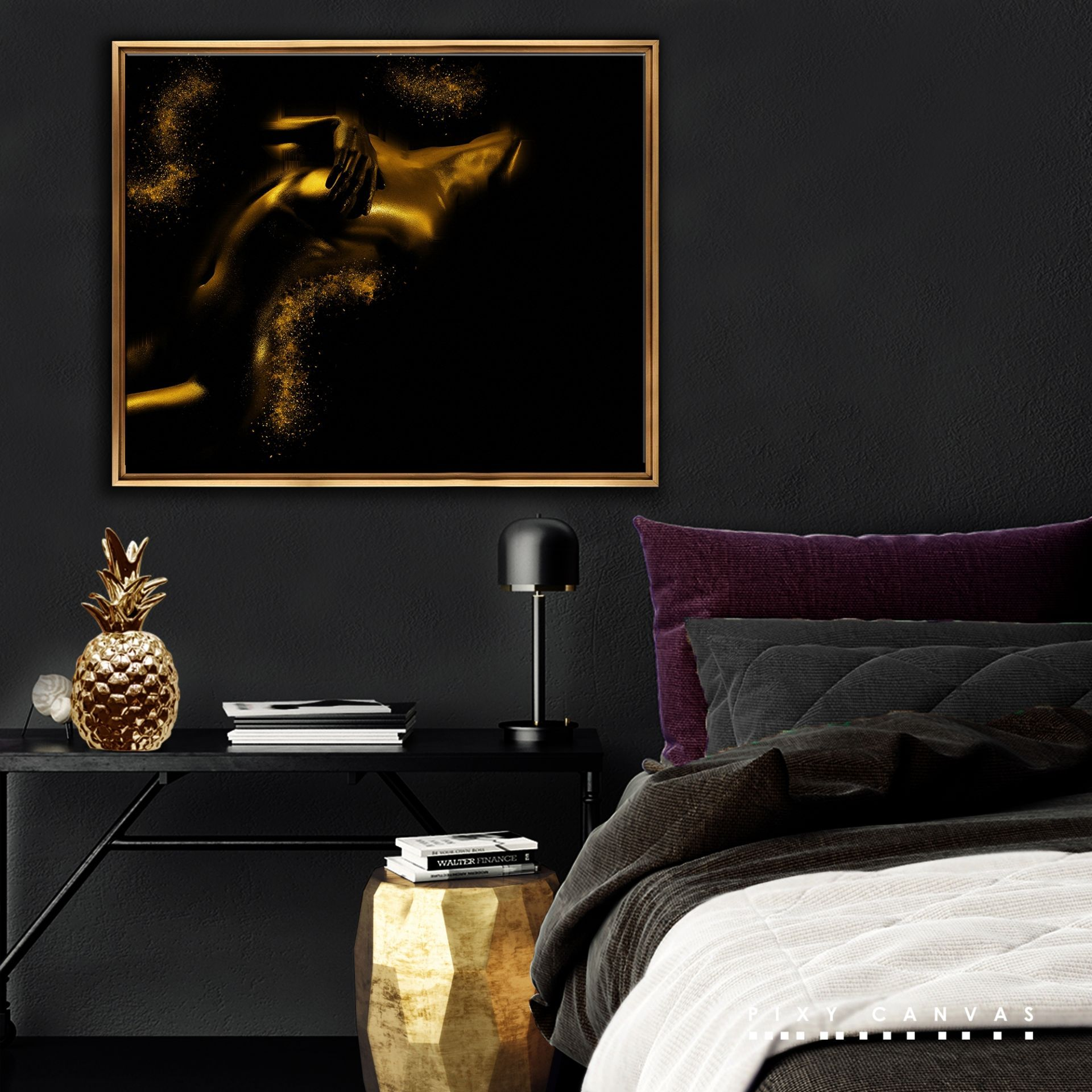 Sensual Gold Print On Canvas. Beautiful Wall Art. Romantic Bedroom Decor By  Pixy Canvas