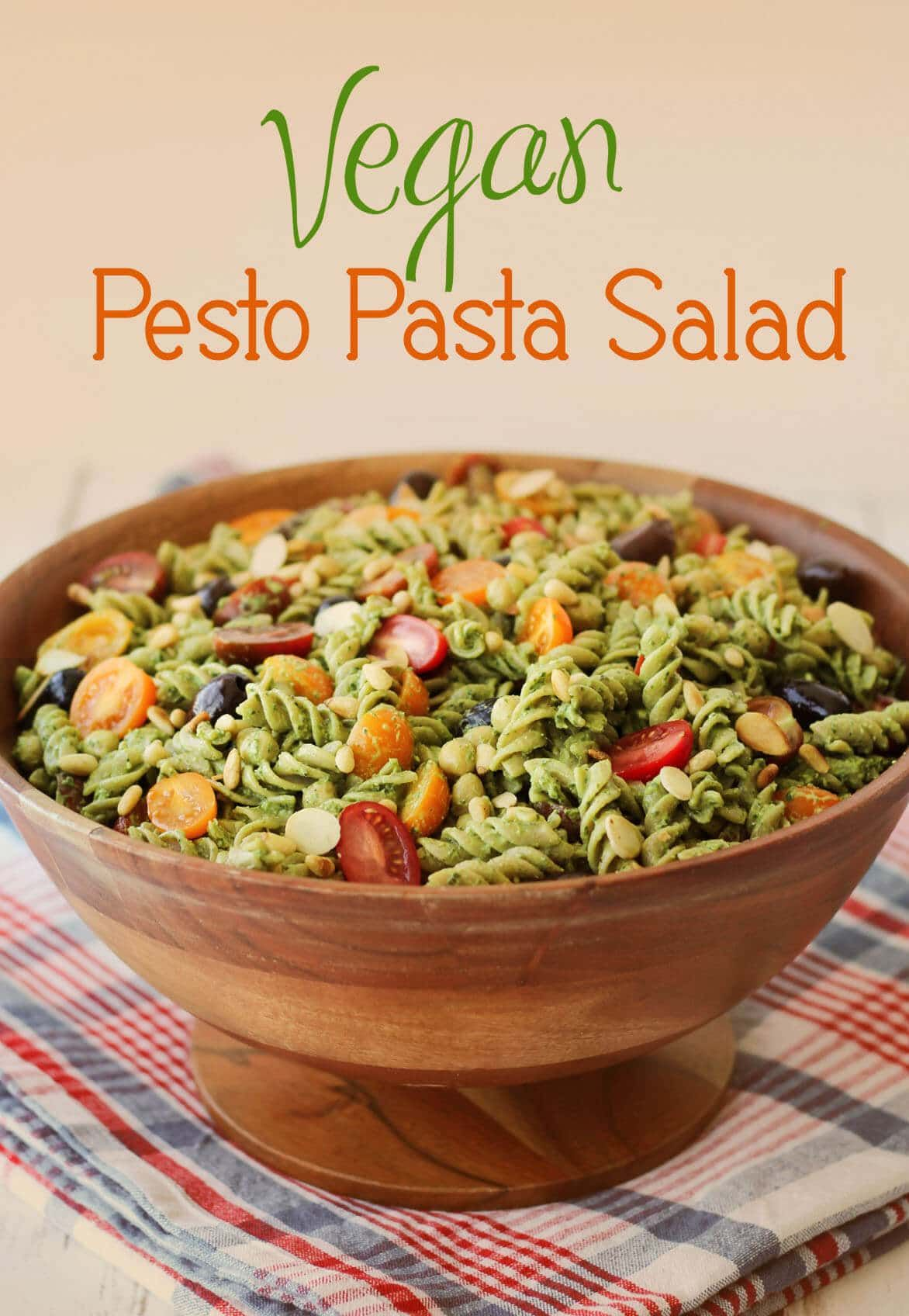 This vegan pesto gluten free pasta salad recipe was