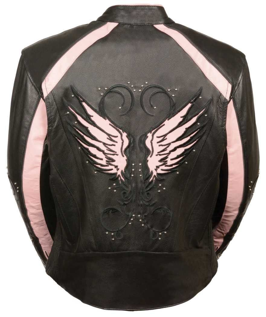 Womens black and pink leather motorcycle jacket