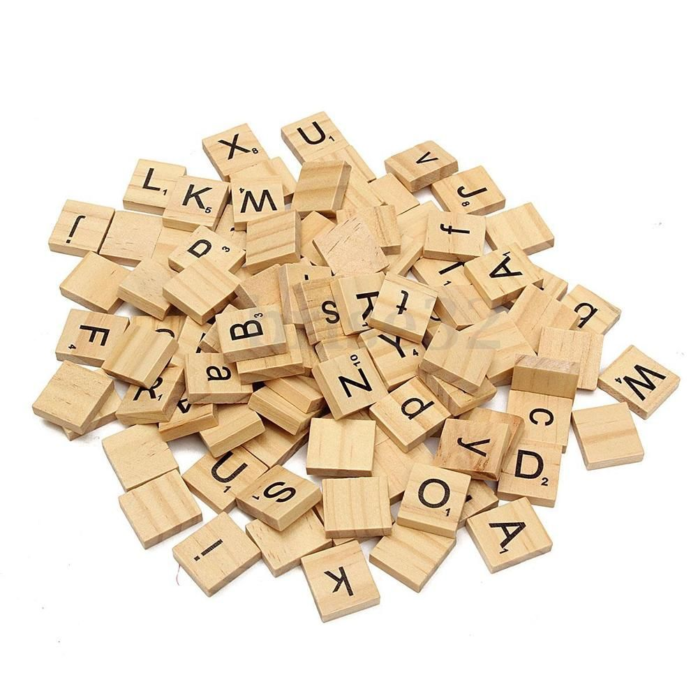 2.76 100 Wooden Alphabet Scrabble Tiles Black Letters