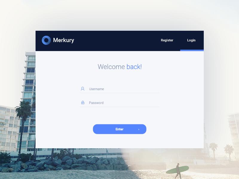 Merkury Free Dashboard // Login Page by Jakub Kowalczyk