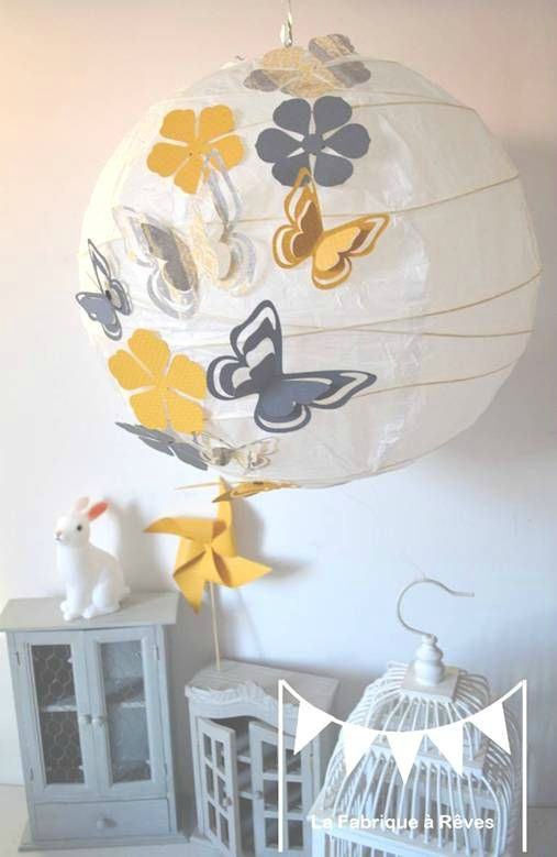 luminaire envol e papillons hibou toiles jaune gris blanc projets essayer pinterest. Black Bedroom Furniture Sets. Home Design Ideas