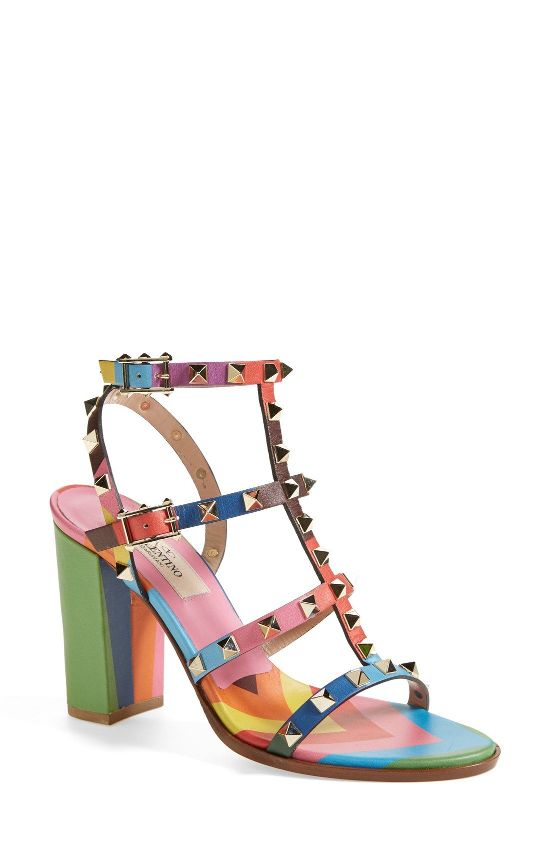 64f4ff4c2887 These rainbow Valentino  Rockstud  T-Strap sandals are on the wish list!
